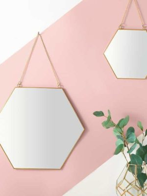 Hexagonal Wall Mirror Gold Frame