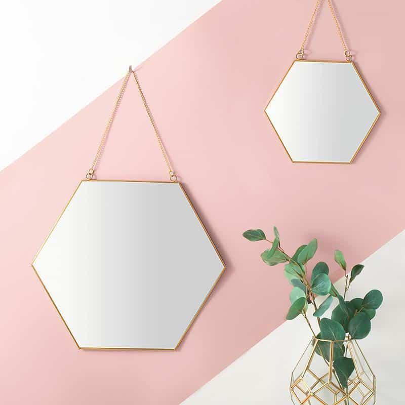 Hexagonal Wall Mirror Gold Frame