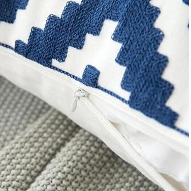 Blue Geometric | Boho Mandala | Bohemian | Embroidery Cushion unique and elegant Pillow