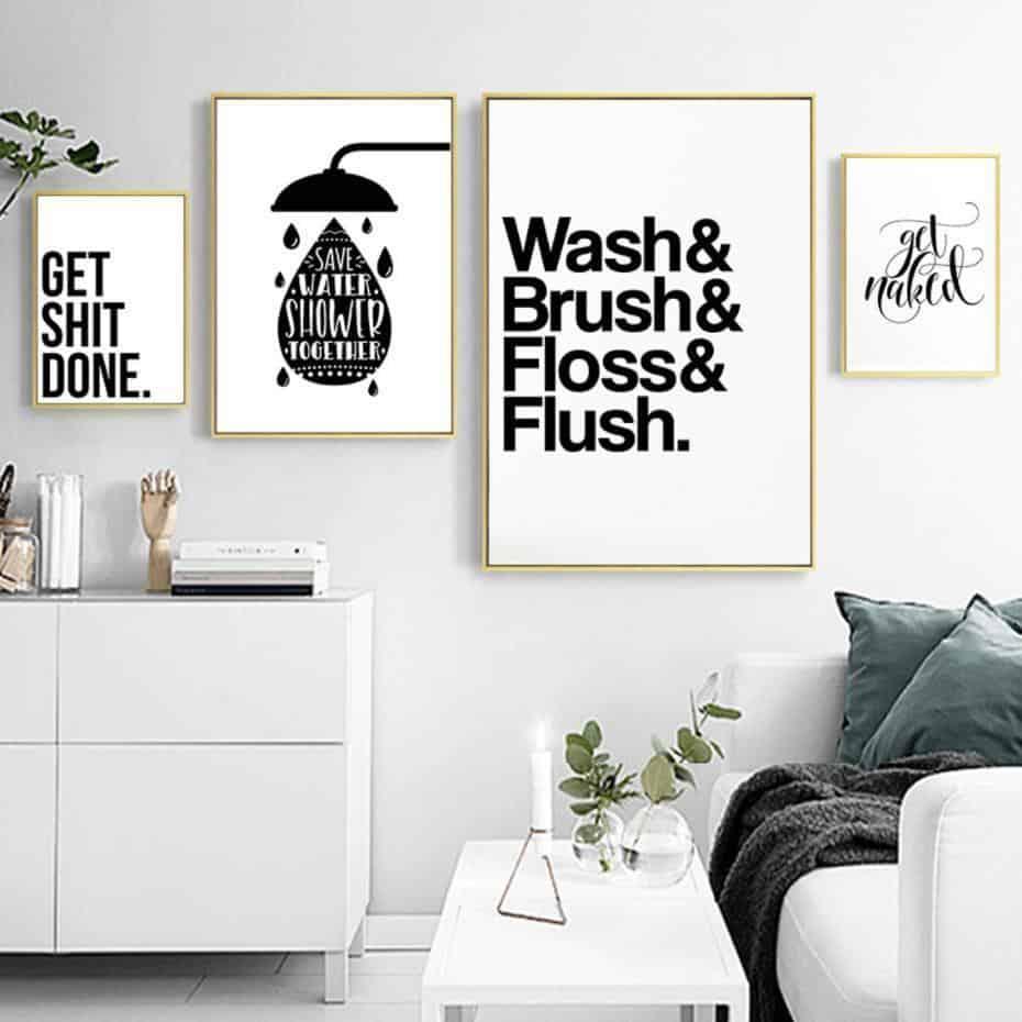 Wash Brush Flush Inspirational Quotes   Unframed Canvas Art unique and elegant Canvas print - Wall Art