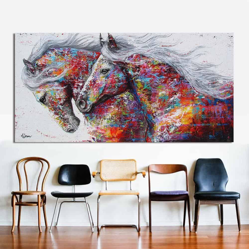 Big Running Horse Multicolor | Unframed Canvas Art unique and elegant Canvas print - Wall Art 28X56 inch