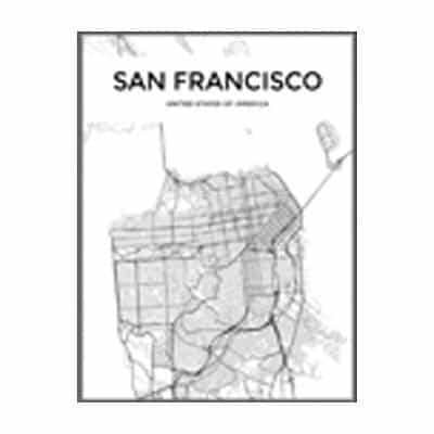 Minimalist City Map Canvas print - Wall Art 60x90 cm / SAN FRANCISCO