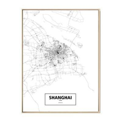 Minimalist City Map Canvas print - Wall Art 60x90 cm / SHANGHAI