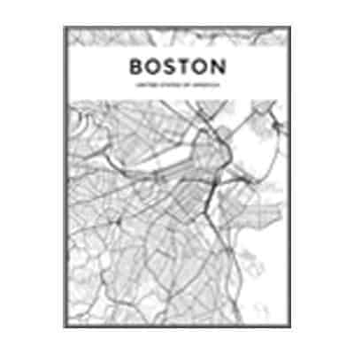 Minimalist City Map Canvas print - Wall Art 60x90 cm / BOSTON