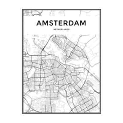 Minimalist City Map Canvas print - Wall Art 60x90 cm / AMSTERDAN