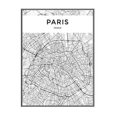 Minimalist City Map Canvas print - Wall Art 60x90 cm / PARIS