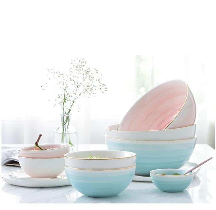 Fabienne Smooth 4pcs/set Gold Rim Ceramic unique and elegant Dinnerware