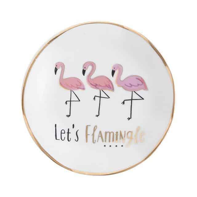 Emmelie Cactusiela Island Jewelry/Decorative Trays Decor Round Flamingo