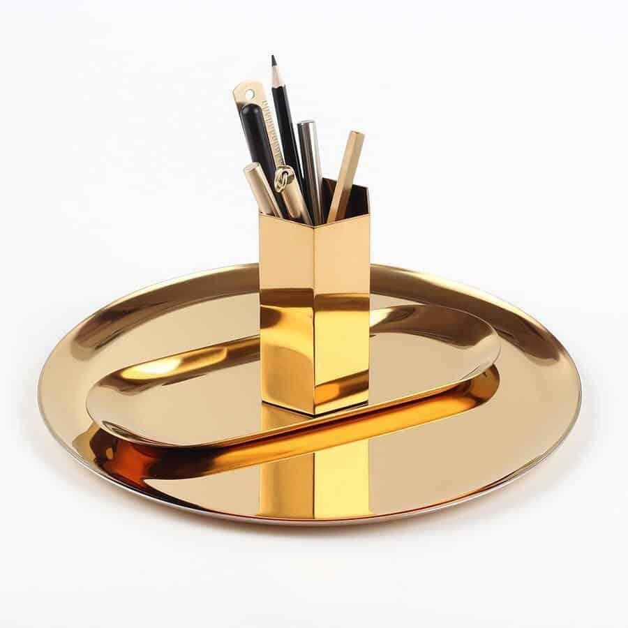 Oxo by Bjorkman Fluttergold Golden Vase/Pen Holder Hexagonal Vase