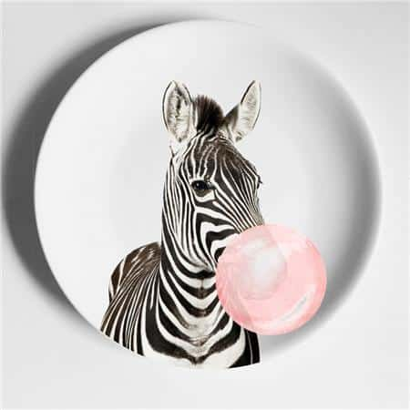 Happy Animals Plates Plates Zebra / 6 inch
