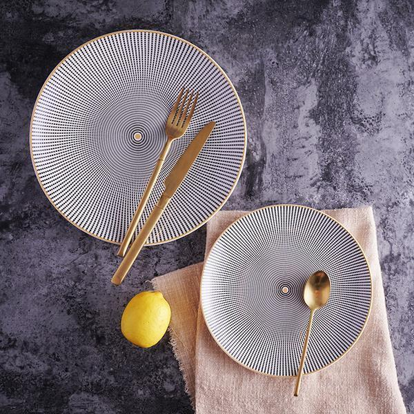 Geometry by Celiné | Black And White Dinnerware With Gold Trim
