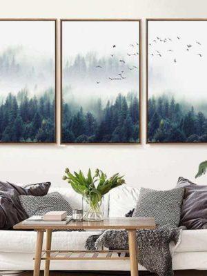 Fabulous Trio Foggy Forest   Zenk   Unframed Canvas Art