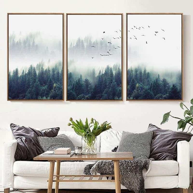 Fabulous Trio Foggy Forest | Zenk | Unframed Canvas Art unique and elegant Canvas print - Wall Art