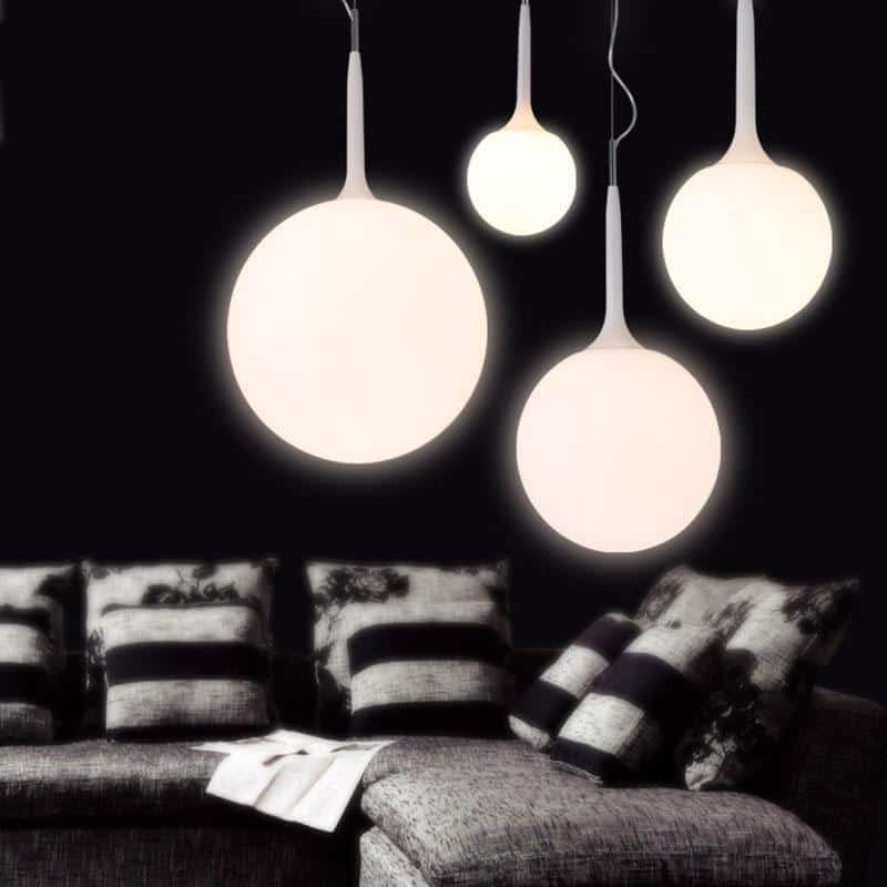 Whitelight Glass Globe Pendant Light