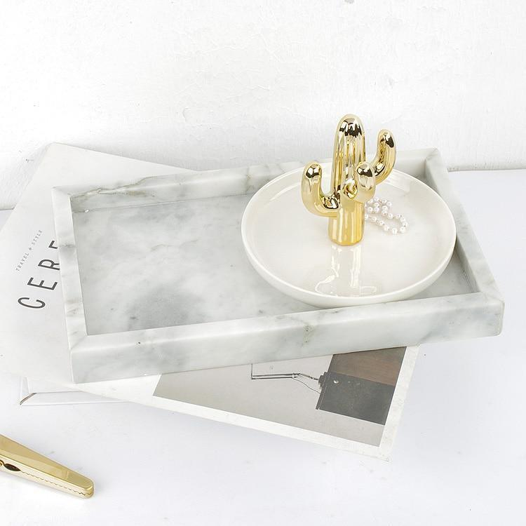 Angebianco Bianco Carrarra White Marble Tray/Serving Plate unique and elegant Tray