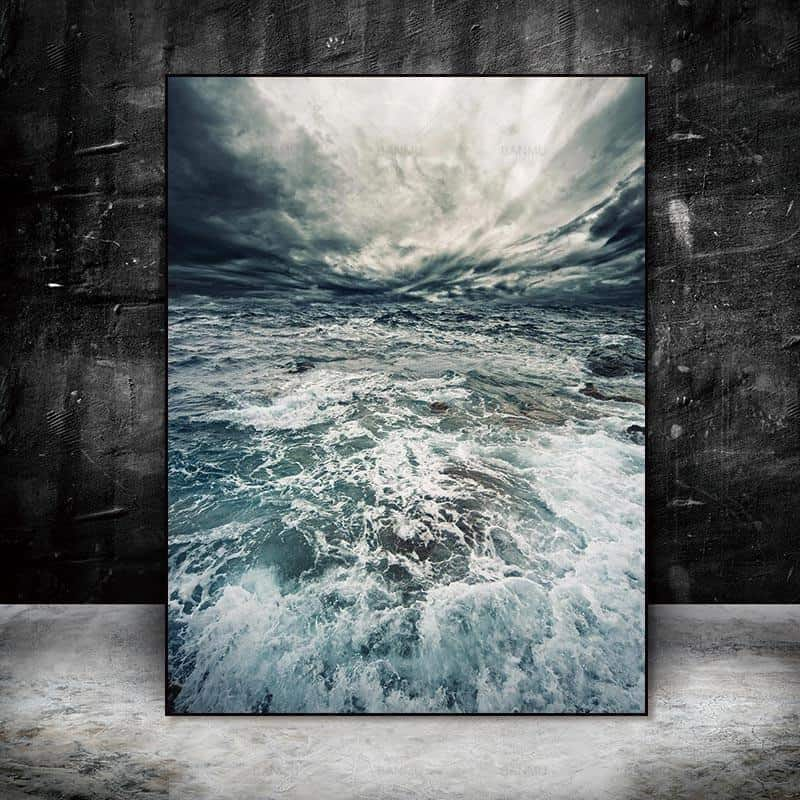 Walter | Perfect Sea Waves | Unframed Canvas Art unique and elegant Canvas print - Wall Art Arctic white / 60cmX90cm