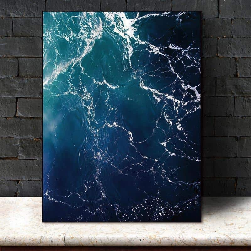 Walter | Perfect Sea Waves | Unframed Canvas Art unique and elegant Canvas print - Wall Art Arctic blue / 60cmX90cm