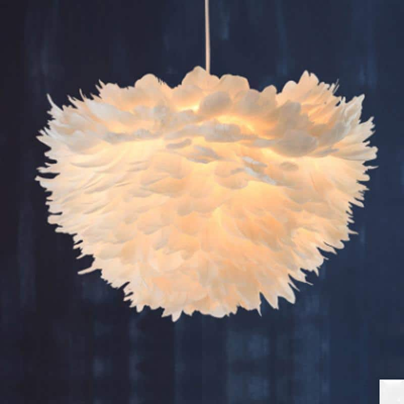 Sun and Cloud Feather Pendant Lamp