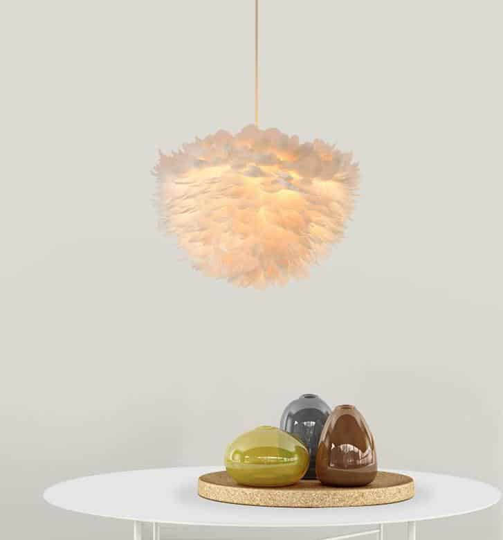 Sun and Cloud Feather Pendant Lamp Pendant lighting Ø60cm / White light