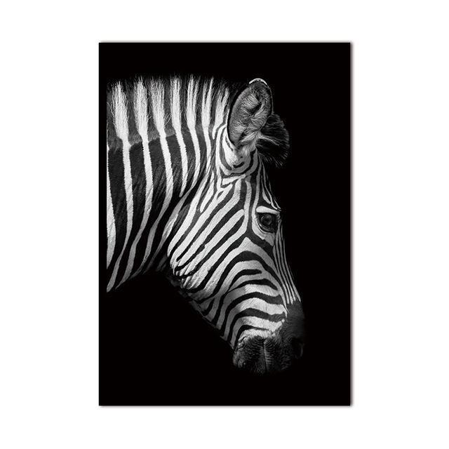 Straight Zebra B&W Canvas print - Wall Art Side / 60x90cm