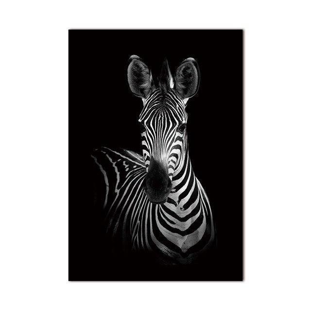 Straight Zebra Black & White   Unframed Canvas Art