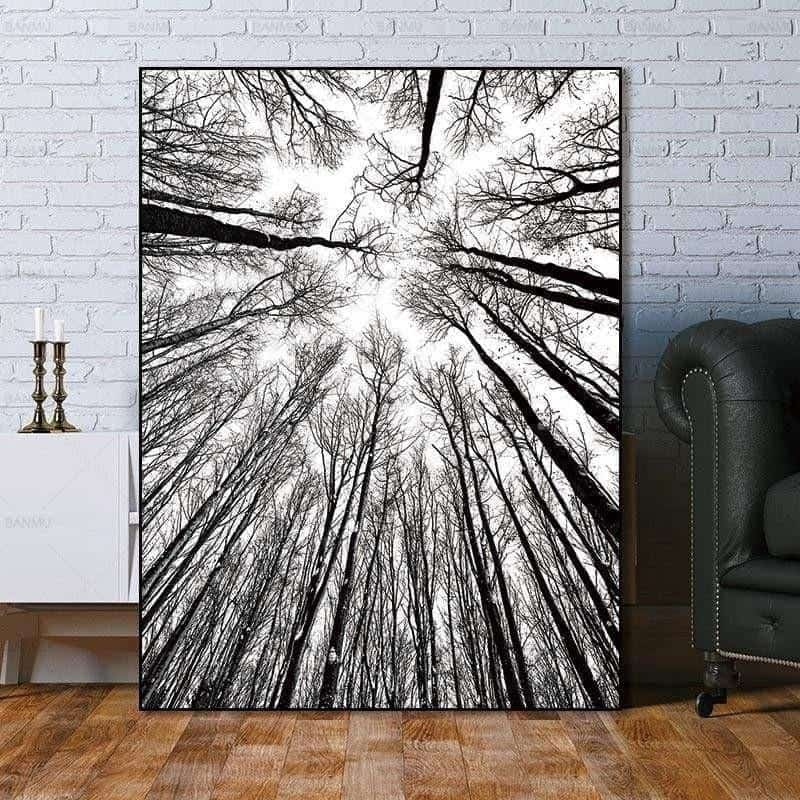 Bird View Minimalism Forest | Unframed Canvas Art