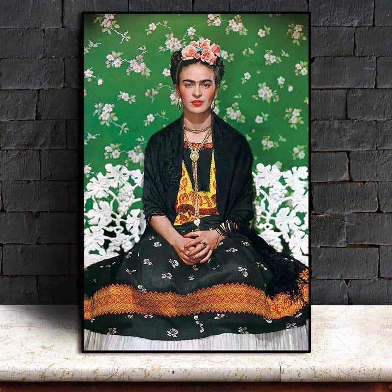 Frida Kahlo On White Bench, Rebel & Meditation | Unframed Canvas Art