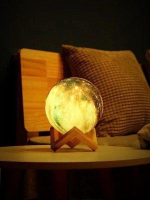 Galaxy & Moon Exhibit Table Lamp / Remote