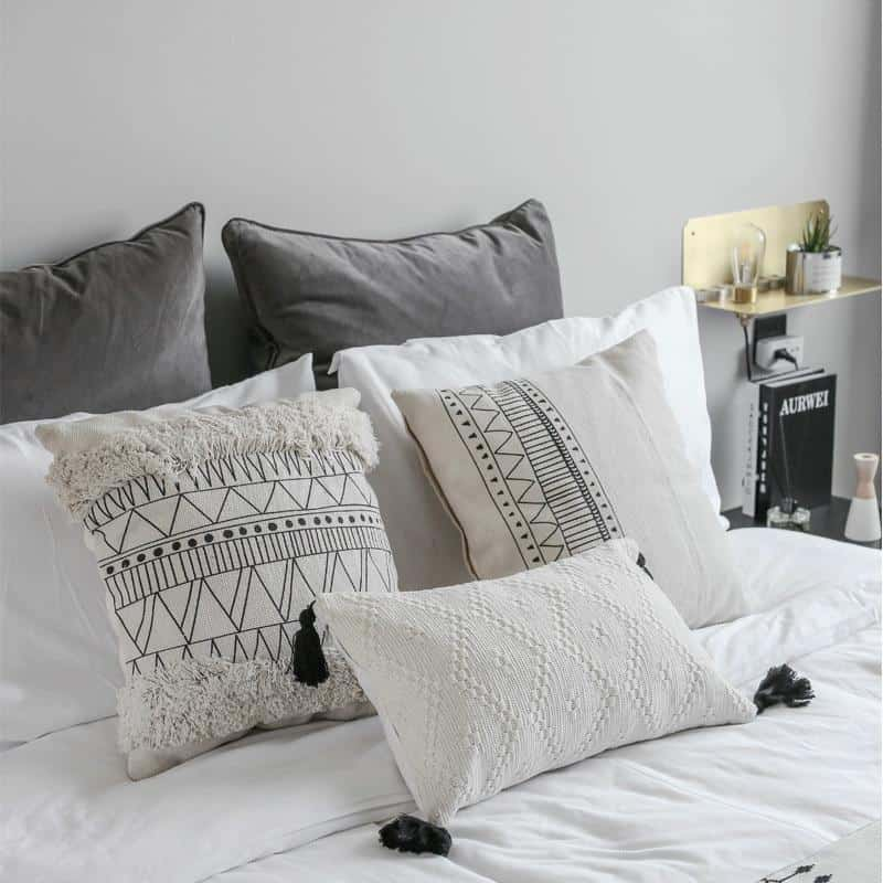 Indian Ivory Bohemian Macrame Handmade Pillowcase