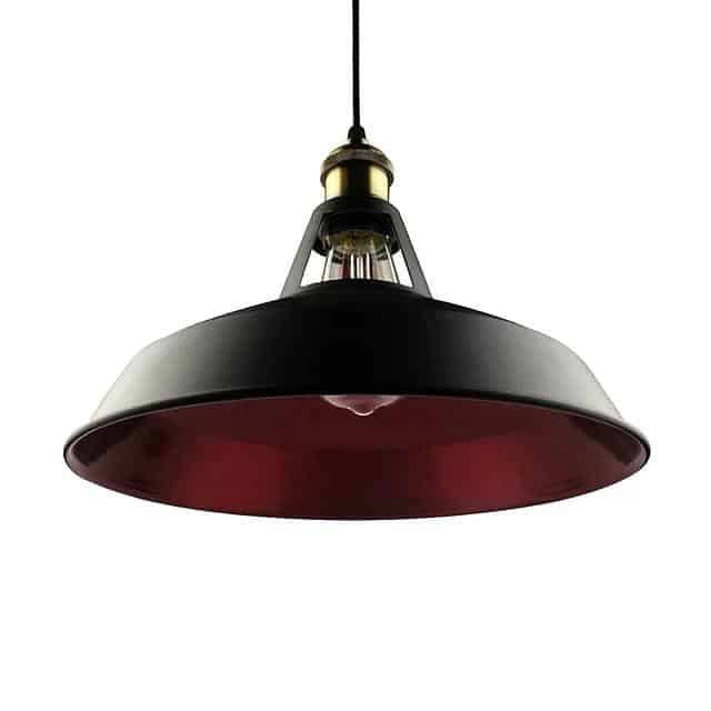 Retro Lunar Pendant Light Pendant lighting Black and red / Large