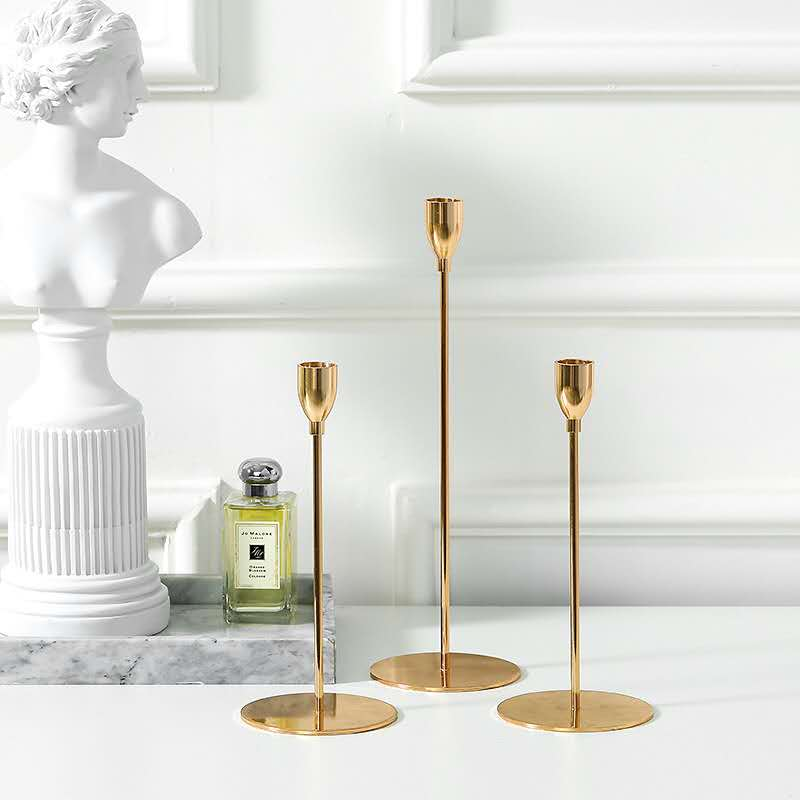 Gold Taper Candle Holder | Set of 3 | Modern Candle Centerpiece for Table