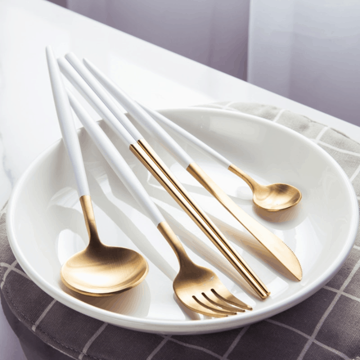 0 KuBac 5PCS 18 10 Stainless Steel Dinnerware White Gold Silverware Set Fork Knife Scoops Cutlery Set wpp1595078338142 - Homepage
