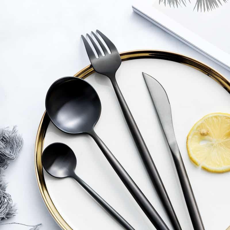 Matte Black Elegant Flatware by Rosseta | Premium Set of 4