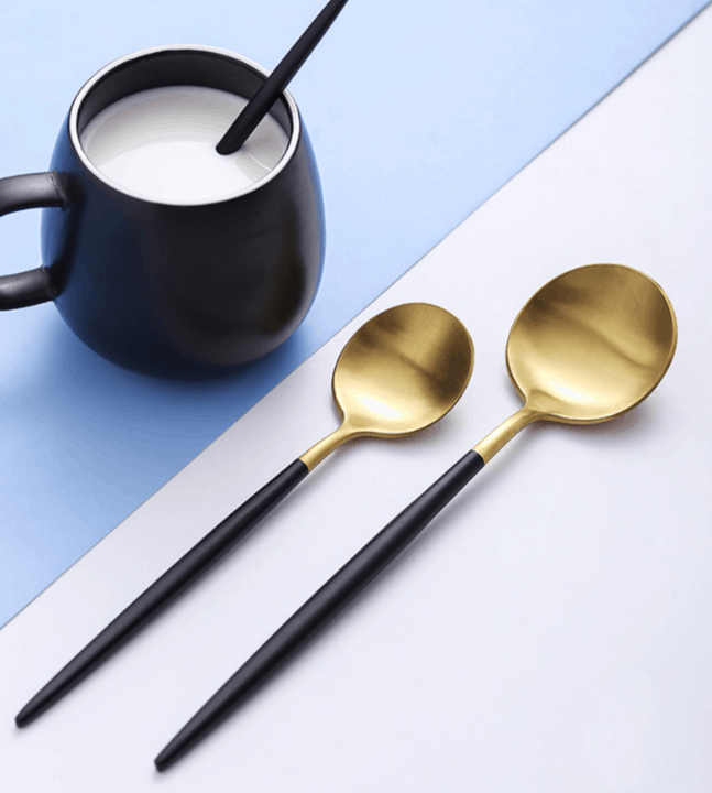 Gold Flatware Black Handle by Rosseta | Premium Set of 4