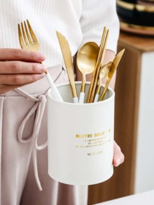 Gold Flatware White Handle by Rosseta | Premium Set of 4