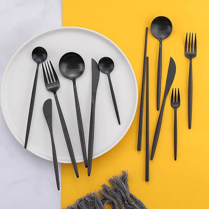 Matte Black Elegant Flatware by Rosseta | Premium Set of 4