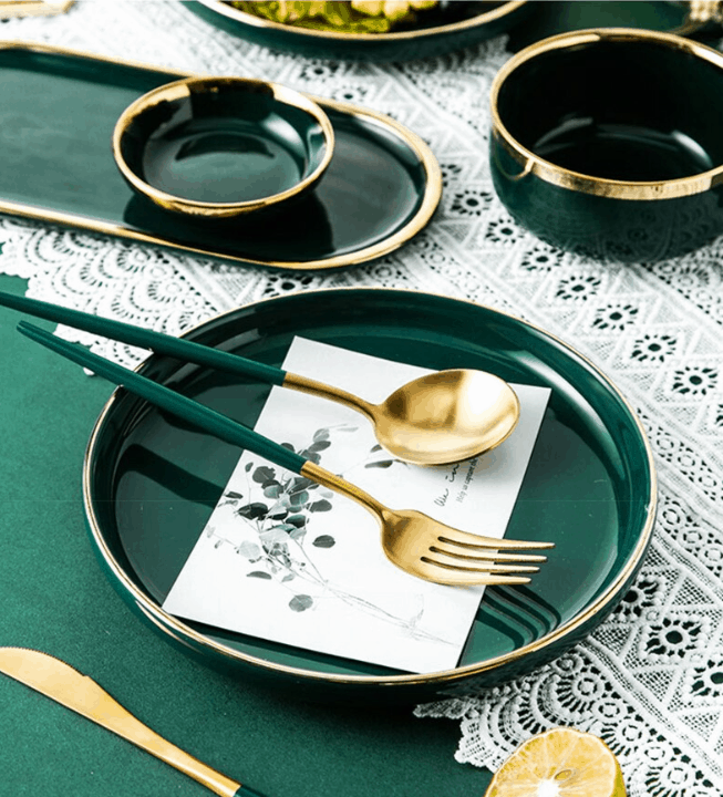 Gold Flatware Green Handle by ROSSETA | PREMIUM Stainless Steel