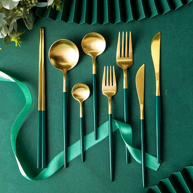 Stainless Steel Dark Green Cutlery Set Dinnerware Set Gold Silverware Tableware Fork Knife Spoon Christmas Gift - Homepage