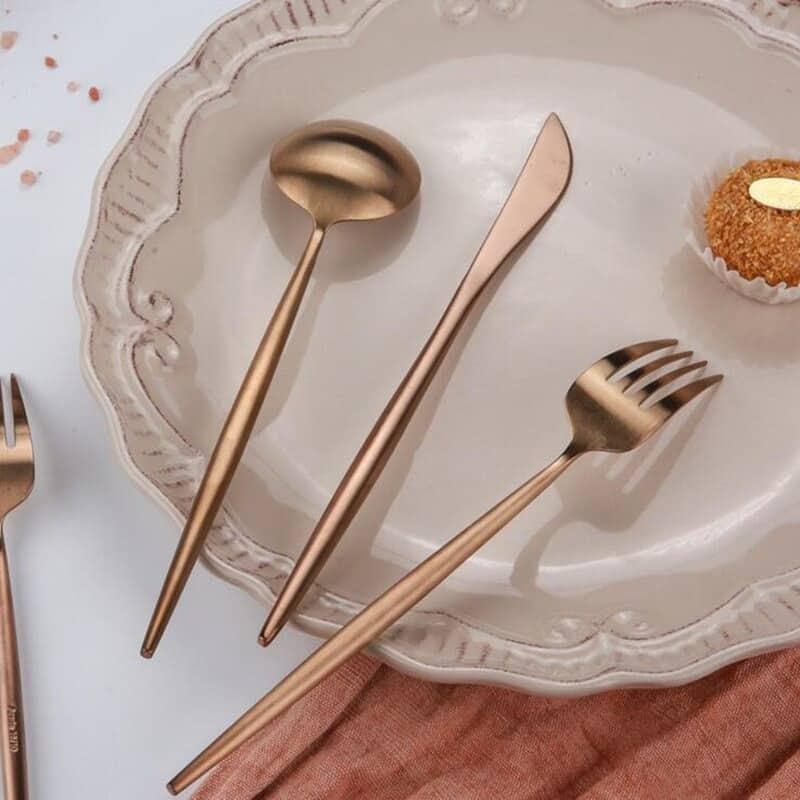 Rose Gold Flatware by Rosseta   Premium Set of 4