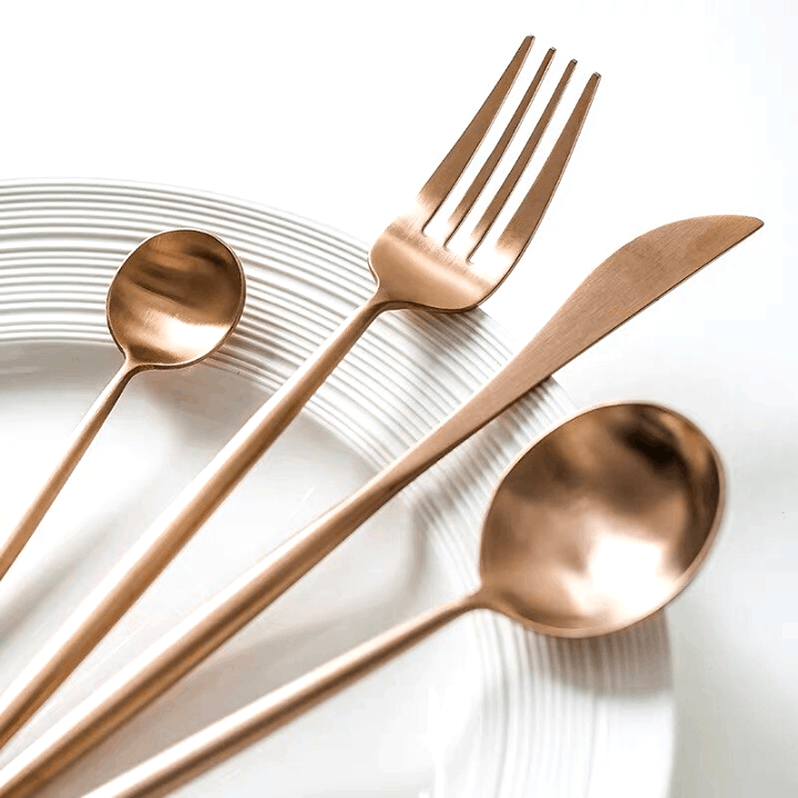 Rose Gold Flatware by Rosseta | Premium Set of 4