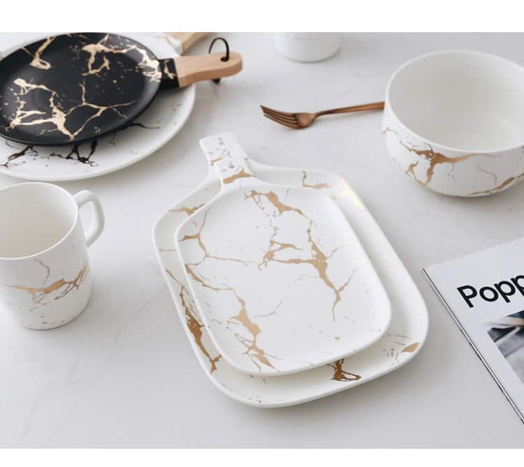 Marble Ceramic Plate | Black & White Gravity Collection