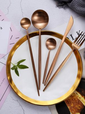 Rose Gold Flatware by Rosseta | Premium Set of 4