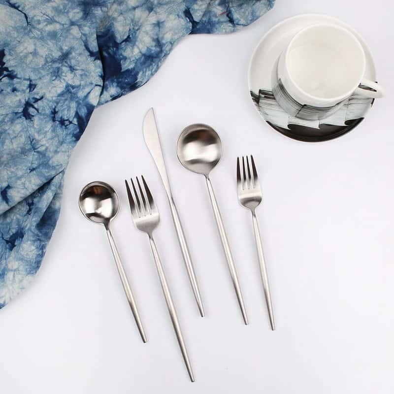 Matte Silver Flatware by Rosseta | Modern Set of 4