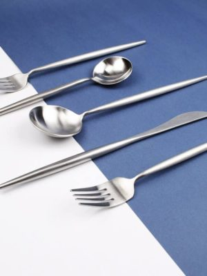 Matte Silver Flatware by Rosseta | Modern Set of 4
